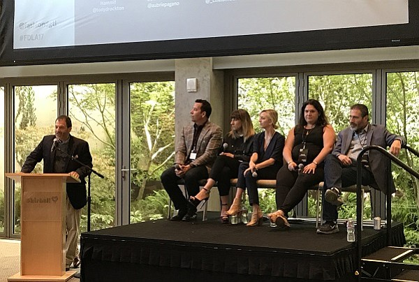Moderator Drew Koven, founder/CEO of LDR Ventures with panelists Tony Drockton, CEO of Hammitt; Aubrie Pagano, CEO of Bow and Drape; Chelsea Moore, founder of BOXFOX, Rebecca Kaden, partner at Maveron; and Asher Leids, investor with Tacitus Ventures.