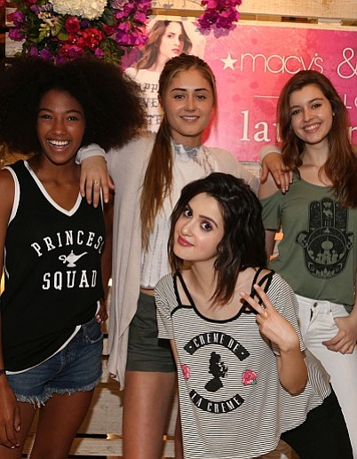 Models show off the Love Tribe line. In center, brand ambassador Laura Marano. Image courtesy Love Tribe.