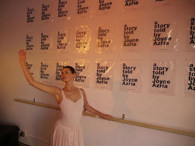 Ballet dancer at party for Avec Les Filles' pop-up shop