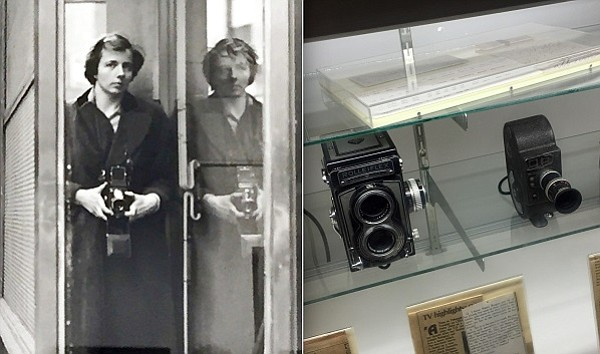 Vivian Maier self-portrait, left, some of the cameras she used, right