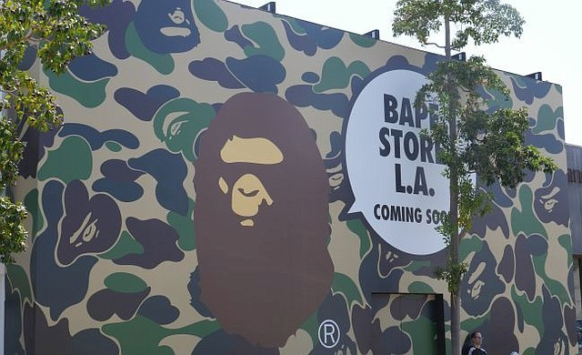 A Bathing Ape construction barricade in West Hollywood.