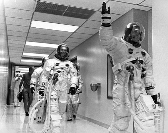 CATWALK TO THE MOON: Buzz Aldrin, Michael Collins and Neil Armstrong (photo courtesy of MIT Press and Txchnologist)
