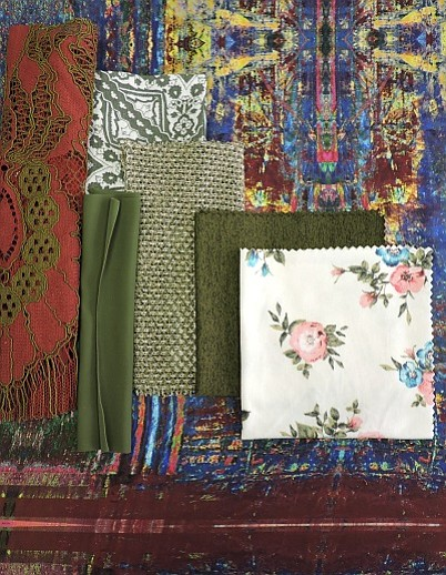 Pictured from left to right: Carmen Molino Silk #172-108BM4; D&N Textiles Inc. #6408; Pine Crest Fabrics #TTS450C16; Fabric Selection Inc. #SE50704 Rayon Crepon Print; Asher Fabric Concepts #TRI103 Triblend Spandex Sweater; Texollini #797JYD2; and Fabric Selection Inc. #SE61229 Brushed DTY Poly/Spandex