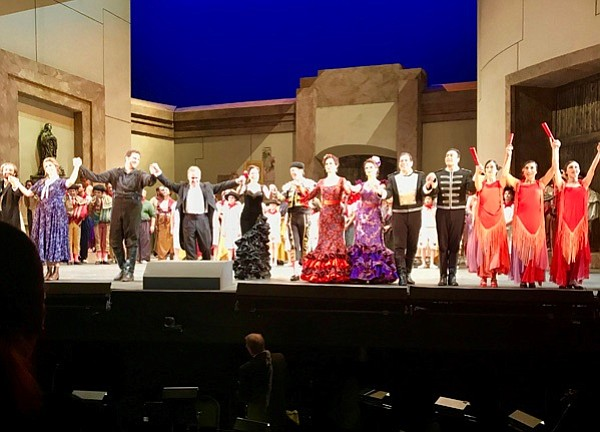 "The cast of ""Carmen"" taking a bow"