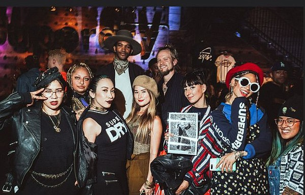Crowd at Superdry. GGeisha, the creative director/owner of Dripped Fashion Soiree, ran the door at the event. GGeisha is in the first row, second from left. Image by Tadatime.