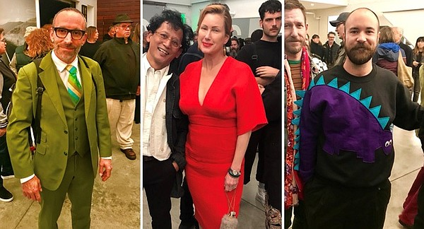 Attendees in their winter brights, including a tribute to Barney the dinosaur