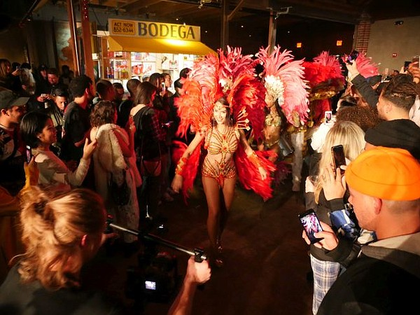 Samba dancers take 1720 at Bodega's after hours party.