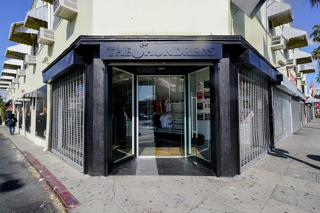 Exterior of The Hundreds new Fairfax shop. Images via the hundreds.com