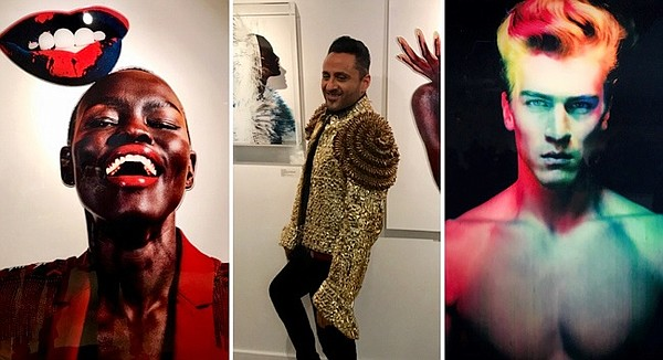 Ram Shergill center, and two of his images including, on left, model Grace Bol's well-known image