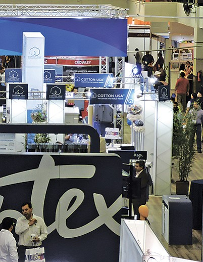 A view of the Apparel Sourcing Show floor reveals exhibitors such as Cotton USA and Liztex.