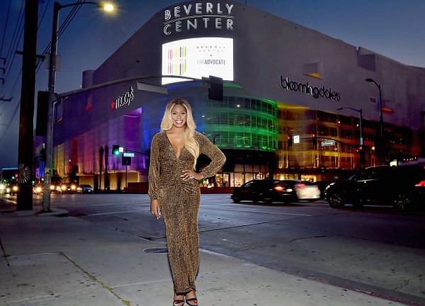 Laverne Cox outside of a rainbow lit Beverly Center. Image courtesy of Beverly Center