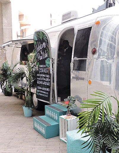 STREAMLINE: Pura Vida rolled out a creative marketing tool in this Airstream trailer, which housed a wide selection of handmade bracelets and earrings. It sat in the front patio of the California Market Center during Los Angeles Fashion Market. | Photo by Deborah Belgum