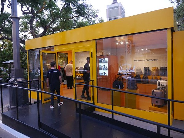 Exterior of Look Forward pop-up. Photo by Andrew Asch