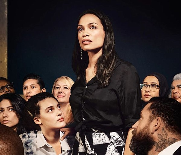 Rosario Dawson in For Freedom's update of Norman Rockwell's Freedom of Speech. All images courtesy of For Freedoms