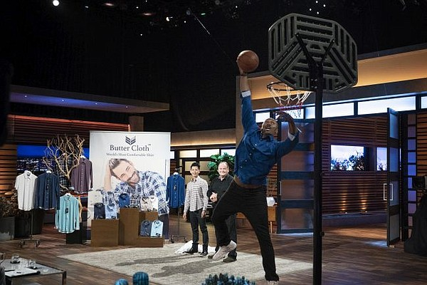 Metta World Peace dunks for Butter Cloth on Shark Tank. Image courtesy of Shark Tank