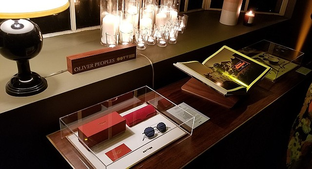 """During a launch party at Chateau Marmont held on Nov. 29, a copy of """"California as We See It"""" is displayed beside Oliver Peoples's Assouline frame, which was designed to complement the sale of the book."""