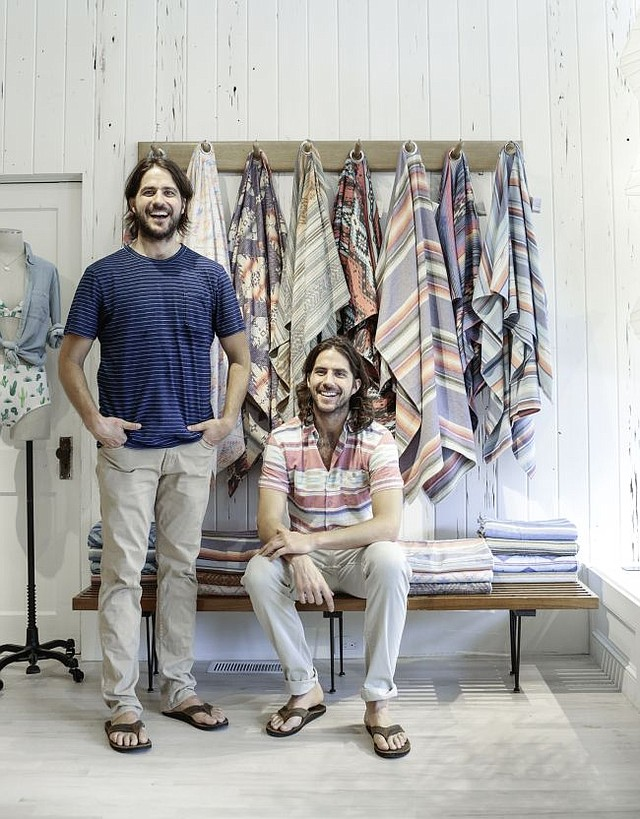 Mike and Alex Faherty in the Sag Harbor, N.Y. Faherty shop. Image courtesy of Faherty