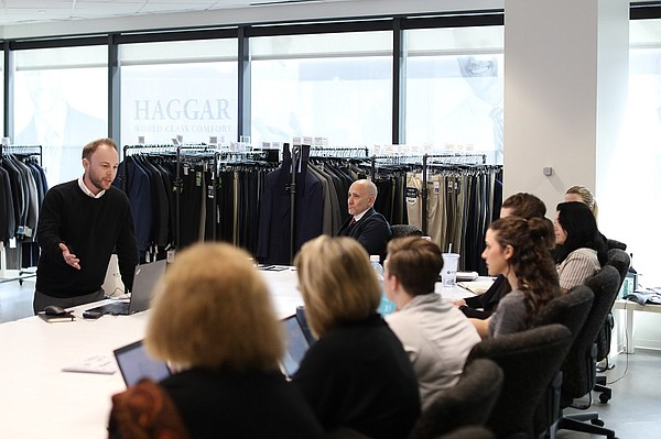 Zachary Hall, a graduate of FIDM's menswear program, presented his collection concept to Haggar executives in Dallas during the SuperLab design competition. Photo: FIDM