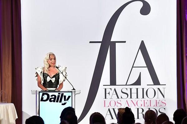 Lady Gaga presents at  Fifth Annual Fashion Los Angeles Awards. Image courtesy Daily Row