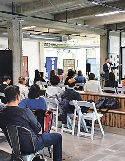 Nimbly's Christian Birky discusses innovating manufacturing in the United States and on-demand production during his presentation. | Photo by Shima Seiki
