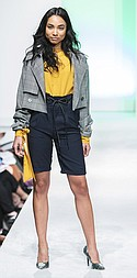 Kliss & Roo cropped trench, TCEC blouse, Gilli Bermuda shorts