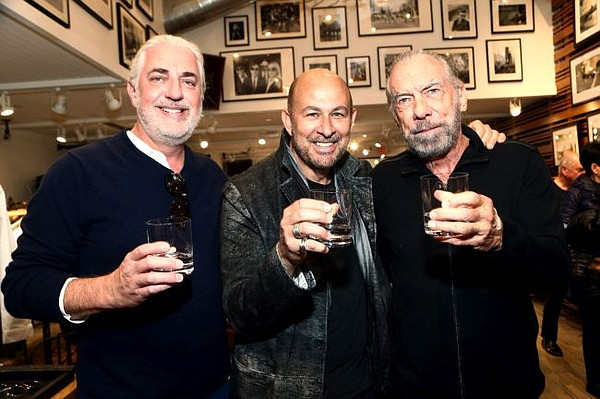 From left, Michael Myers, John Varvatos and John Paul DeJoria of the Paul Mitchell line of hair products and Patron Spirits Company at the John Varvatos at Malibu Country Mart store. All images courtesy of John Varvatos