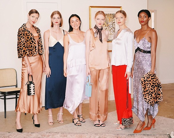 Third from left, Catherine Gee stands with models wearing styles from the Fall/Winter 2019 collection. Photo: Hagop Kalaidjan
