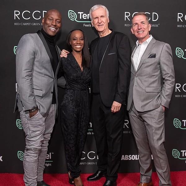 From left, Tyrese Gibson, Samata Pattinson, James Cameron and Harold Weghorst  Photo: Vegan Fashion Week