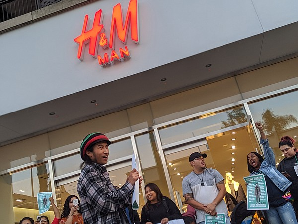 Nick Gallant during an October 2019 protest at a Pasadena, Calif., H&M  Photo: United for Respect