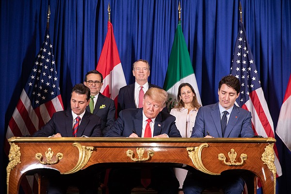 From front left, Mexico's President Enrique Pena Nieto; United States President Donald Trump; and Canadian Prime Minister Justin Trudeau