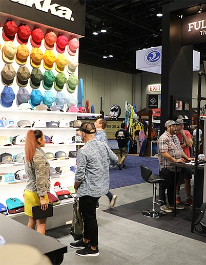 Emerald Holdings, Inc.'s acquisition of e-commerce and digital merchandising-solutions company PlumRiver will extend the business-to-business platform builder's events reach for its extensive show portfolio, which includes Surf Expo, whose January 2020 edition is shown above featuring Pukka, Inc.   Photo courtesy of Emerald Holdings, Inc.