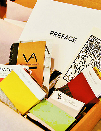 The Preface Show-in-a-Box includes textile samples, workshop supplies and gifting to afford a more-tactile experience for designers and brands in the fabric, yarn and sourcing virtual-events category.    Photo courtesy of Preface Show