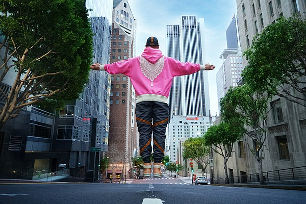 """Magnus Alpha co-founder and Creative Director Hommy Diaz released the Doily Hoodie during March, which is Women's History Month, as an homage to """"the women who raise us,"""" the designer said.  Photo: MJ Glover"""