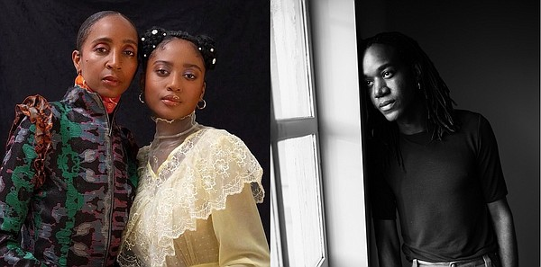 From left, Rebecca Henry and Akua Shabaka from House of Aama with photo by Paul Sepuya. Pictured right, Kenneth Nicholson with photo courtesy of the designer.