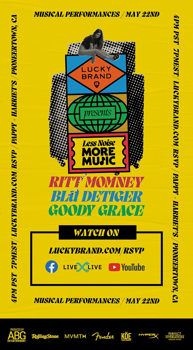 """On May 22, Lucky Brand will host """"Less Noise, More Music"""" a virtual concert streamed live from Pioneertown, Calif.'s Pappy + Harriet's. Image: Lucky Brand"""