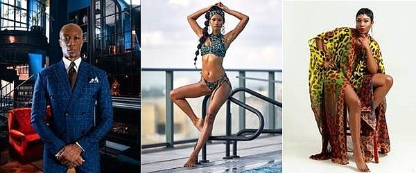 The Black Fashion Movement will host a designer showcase, it's first on-site event, at Galleria Dallas from June 17-20 featuring the work of artists such as (from left) Don Morphy by Daniel Mofor, Keva J Swimwear by Keva Johnson and Sai Sankoh by Sai Sankoh.  Photos: The Black Fashion Movement