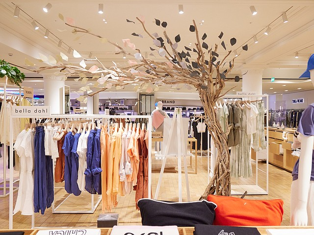 Los Angeles brand Bella Dahl recently unveiled a pop-up shop at Selfridges in London showcasing its pieces created from Tencel, along with an installation of an artistic work from local U.K. artist Anu Ogunmefun. Photo: Betty Oxlade Martin for Bella Dahl at Selfridges