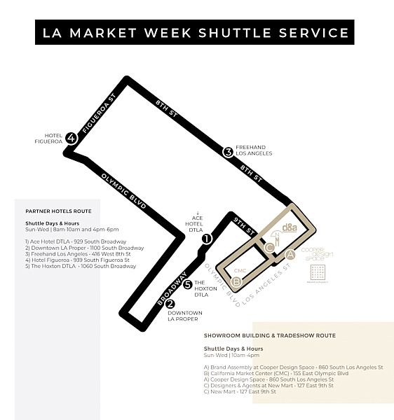 This map detail shows the route a complimentary shuttle will take between the new L.A. market group's participating hotels and market centers. | Photo courtesy of L.A. Market Group
