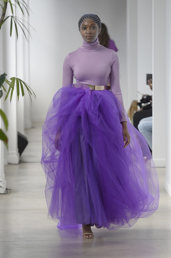 For the Tiffany Brown Designs Spring/Summer '22 collection showcased during New York Fashion Week, the designer incorporated 50 shades of purple.  Photo: Fernanda Calfat/Getty Images for Tiffany Brown